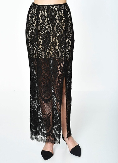 Glamorous Uzun Dantel Etek Siyah